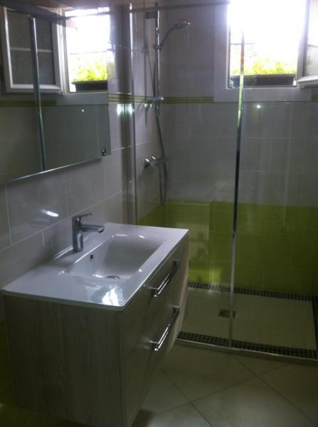 Pose de carrelage et de fa ence blanche et pistache for Faience salle de bain blanche
