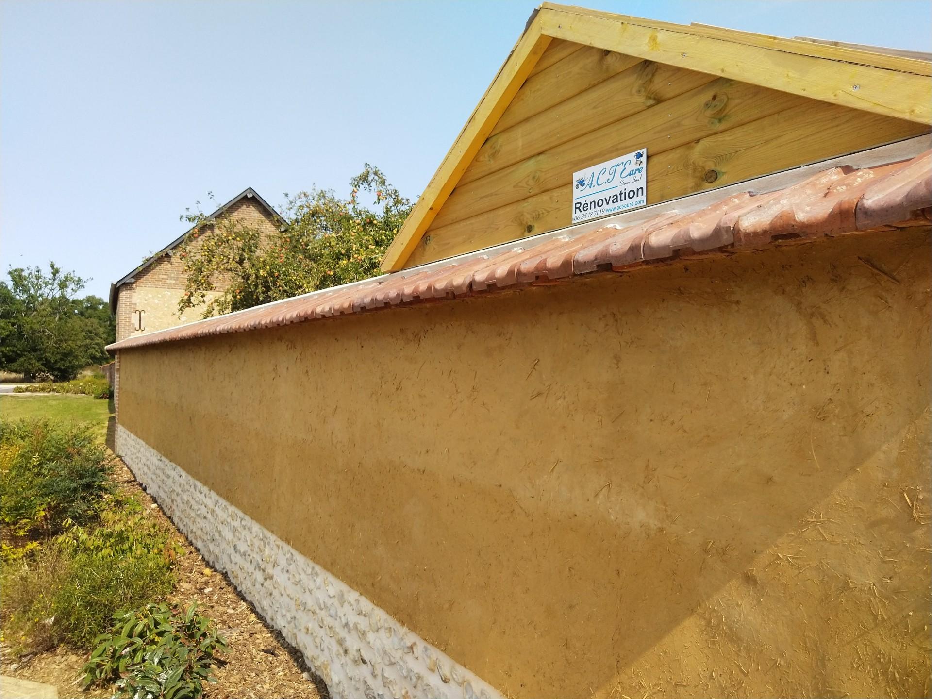 Mur en bauge face extérieure